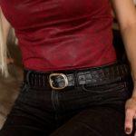 Cinturón de cuero hebilla ovalada